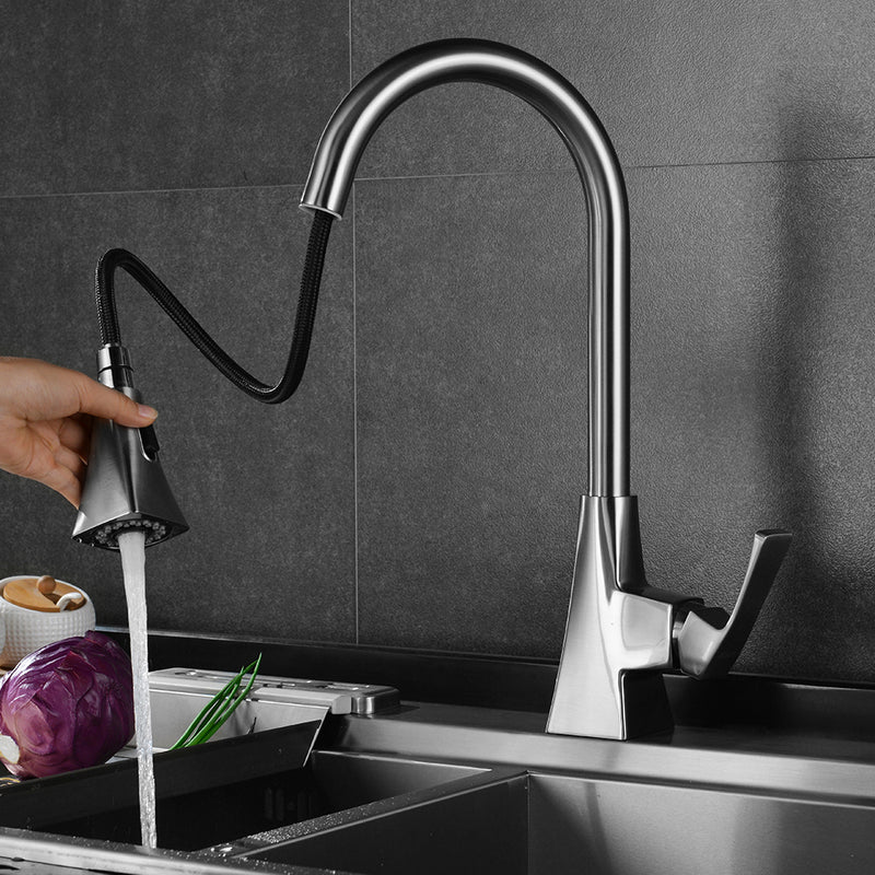 Parlos Single Handle High Arc Brushed Nickel Pull Out Kitchen Faucet,Single Level Stainless Steel Kitchen Sink Faucets with Pull Down Sprayer (13636)