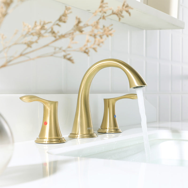 PARLOS 2-handle Bathroom Faucet Brushed Gold with Pop-up Drain & Supply Lines, Demeter (1364708)
