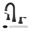PARLOS Two-Handle High Arc Bathroom Faucet with Pop Up Drain and cUPC Faucet Supply Lines Widespread 8 inch Deck Mounted,Oil Rubbed Bronze, Demeter (13652)