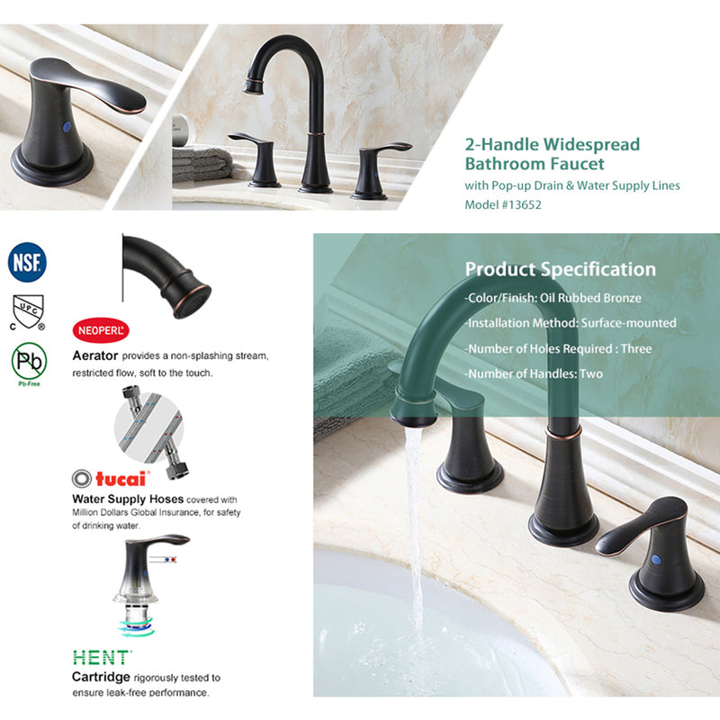 PARLOS Two-Handle High Arc Bathroom Faucet Pop Up Drain Widespread 8 inch Deck Mounted Oil Rubbed Bronze Demeter (13652)