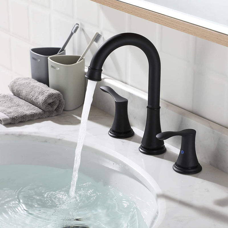 PARLOS 2-Handle 8 inch Widespread Bathroom Faucet with Valve and Pop Up Drain Assembly and cUPC Faucet Supply Hoses, Matte Black, Demeter (13653)