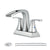 PARLOS 2 Handles Waterfall Bathroom Faucet with Pop-up Drain and Faucet Supply Lines, Brushed Nickel, Doris (14068)