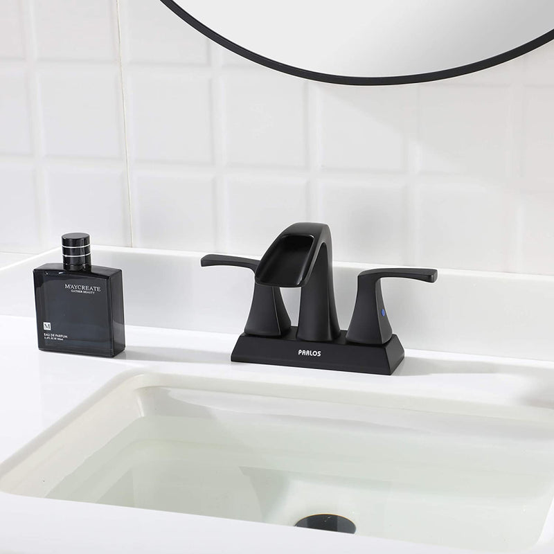 PARLOS 2 Handles Waterfall Bathroom Faucet with Pop-up Drain and Faucet Supply Lines, Matte Black, Doris (1406804)