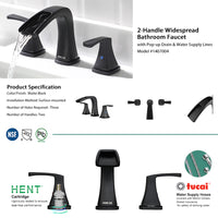 PARLOS Waterfall Widespread Bathroom Faucet Two Handles with Pop Up Drain & cUPC Faucet Supply Lines, Matte Black, Doris  (1407004)