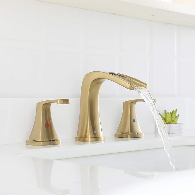 PARLOS Waterfall Widespread Bathroom Faucet 2 Handles with Pop Up Drain & cUPC Faucet Supply Lines, Brushed Gold, Doris (1407008)