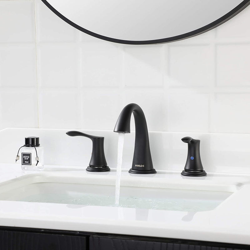 PARLOS Widespread 2 Handles Bathroom Faucet with Pop Up Sink Drain and cUPC Faucet Supply Lines, Matte Black, Demeter (14135)
