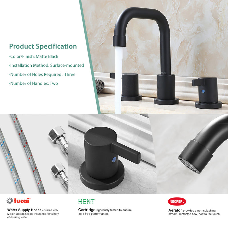 PARLOS Two-Handle Widespread Bathroom Faucet with Pop-up Drain Assembly and cUPC Faucet Supply Lines, Matte Black(14136)