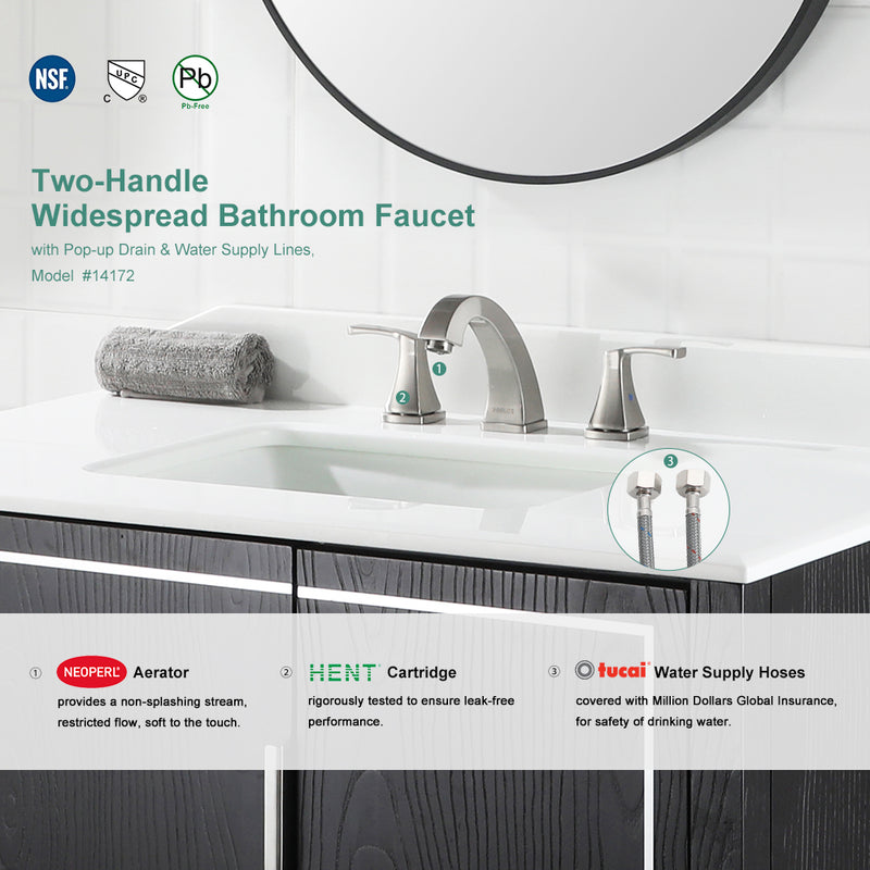 PARLOS Widespread Double Handles Bathroom Faucet with Pop Up Drain and cUPC Faucet Supply Lines, Brushed Nickel, Doris(14172)