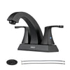 PARLOS 2 Handles Bathroom Faucet with Pop-up Drain and Faucet Supply Lines, Matte Black, Doris (14255)