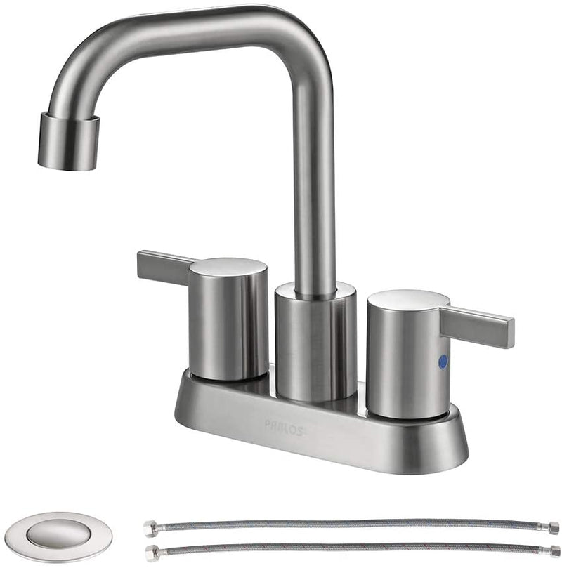 PARLOS 2 Handles Bathroom Faucet Brushed Nickel with Metal Pop-up Drain (1431602)