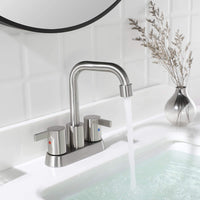 PARLOS 2 Handles Bathroom Faucet Brushed Nickel with Metal Pop-up Drain and Faucet Supply Lines, 1431602