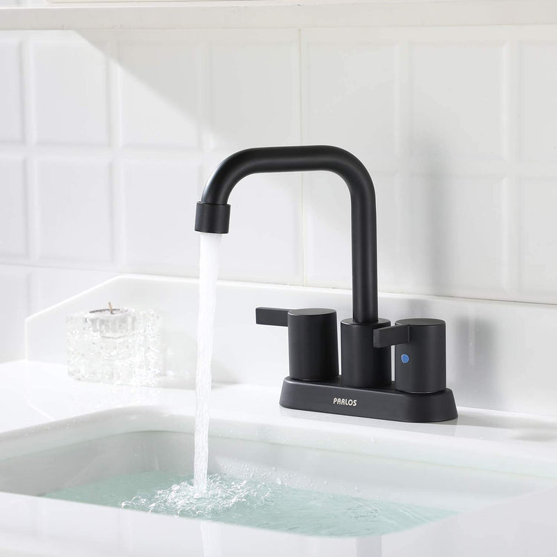 PARLOS 2-handle Matte Black Bathroom Faucet for Lavatory with Pop-up Sink Drain and Faucet Supply Lines, 1431604
