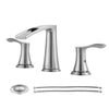 PARLOS Waterfall Widespread Bathroom Faucet 2 Handles with Pop Up Drain & cUPC Faucet Supply Lines, Brushed Nickel, Demeter 1431802