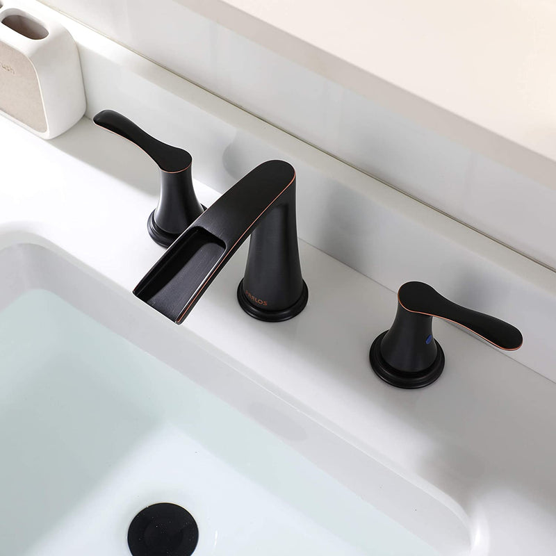 PARLOS Waterfall Widespread Bathroom Faucet Double Handles with Pop Up Drain & cUPC Faucet Supply Lines, Oil Rubbed Bronze, Demeter 1431803