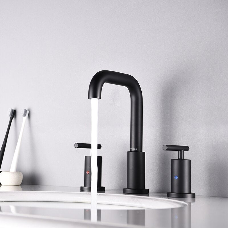 Parlos 2-Handle 8 inch Widespread Three Hole Bathroom Sink Faucet Supply Lines Basin Faucet Mixer Tap Matte Black (1434104)