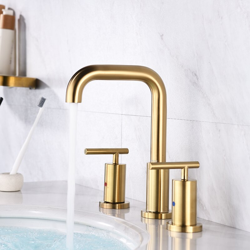 Parlos 2-Handle 8 inch Widespread Three Hole Bathroom Sink Faucet Supply Lines Basin Faucet Mixer Tap Brushed Gold (1434108)