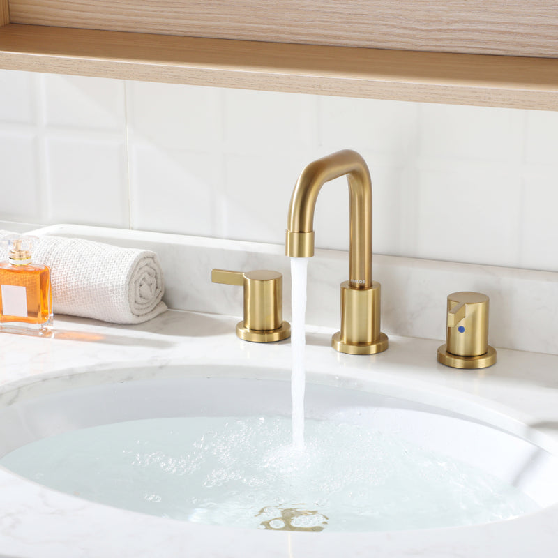 PARLOS Two-Handle Widespread Bathroom Faucet with Pop-up Drain Assembly and cUPC Faucet Supply Lines, Brushed Gold (1364908)