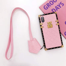 "Load image into Gallery viewer, iPhone case ""Pink Leather Lanyard"" by PURITY™"