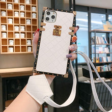 "Load image into Gallery viewer, Samsung Case ""White Leather Lanyard"""