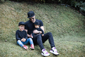 matching father and son snapback trucker summer sun hat signature black cubs & co. Sydney, Australia