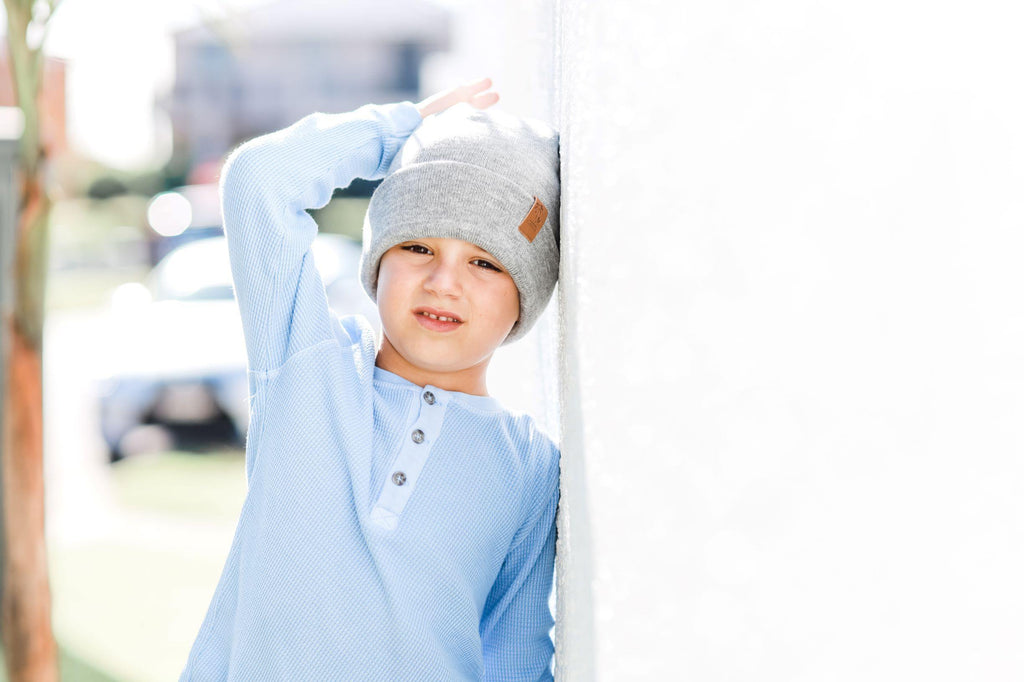 Boy wearing grey winter beanie. Cubs and Co. Australia