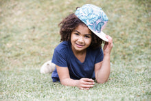 Load image into Gallery viewer, snapback summer sun hat pink and green tropical leaf cubs & co. Sydney, Australia