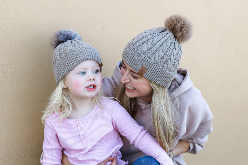 Matching mum and daughter brown winter cotton beanie with pom pom. Cubs & Co. Australia.