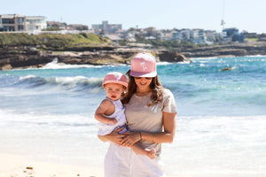 matching mum and daughter snapback summer sun hat peach with white palm tree cubs & co. Sydney, Australia
