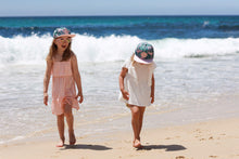 Load image into Gallery viewer, matching snapback summer sun hat pink and green tropical leaf cubs & co. Sydney, Australia
