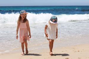 matching snapback summer sun hat pink and green tropical leaf cubs & co. Sydney, Australia