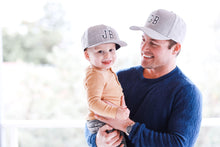 Load image into Gallery viewer, matching father and son snapback summer sun hat personalised grey cubs & co. Sydney, Australia