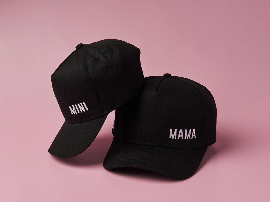 Mum and Mini black baseball caps, Matching for mum and kids. Cubs & Co. Australia