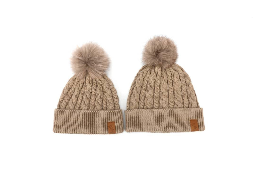 Brown winter cotton beanie with pom pom for kids, women and men. Cubs & Co. Australia.