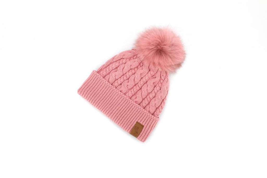 Pink winter cotton beanie with pom pom for kids, women. Cubs & Co. Australia.
