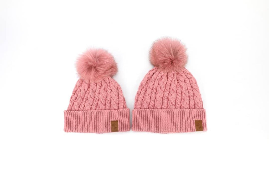 Matching pink winter cotton beanies with pom pom for kids and women. Cubs & Co. Australia.