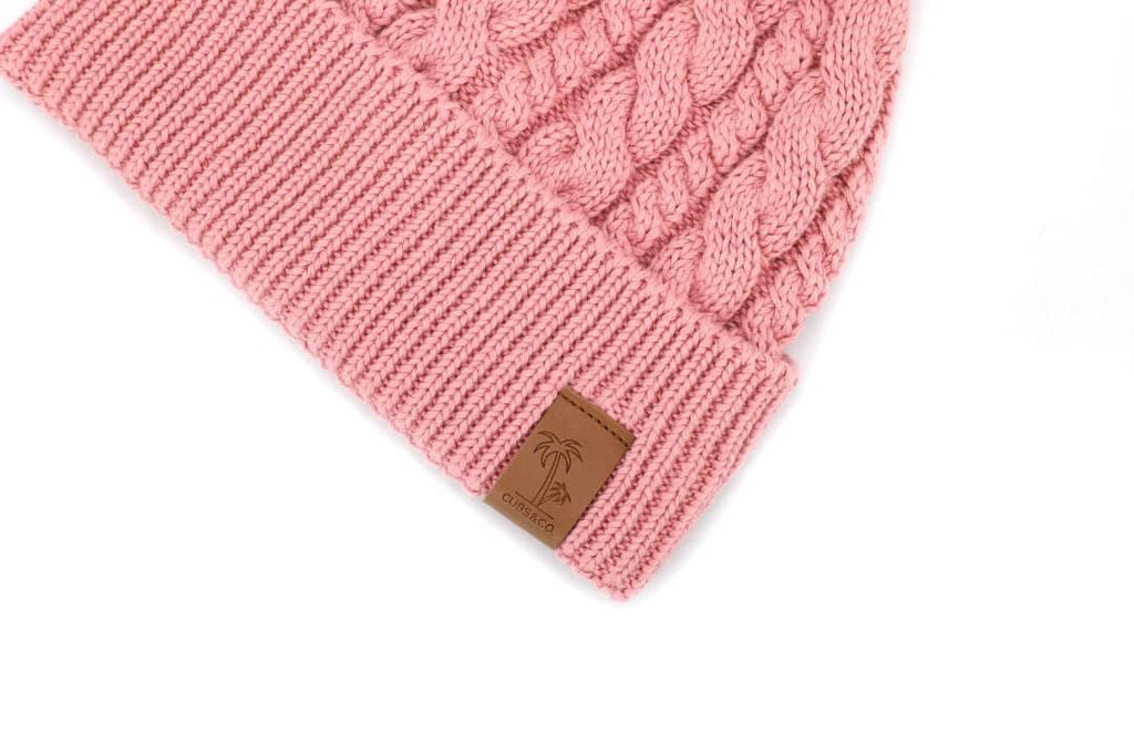 Pink winter cotton beanie with pom pom for kids and women. Cubs & Co. Australia.