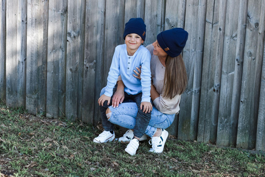 mum and child wearing persoanlised beanie, cubs and co sydney