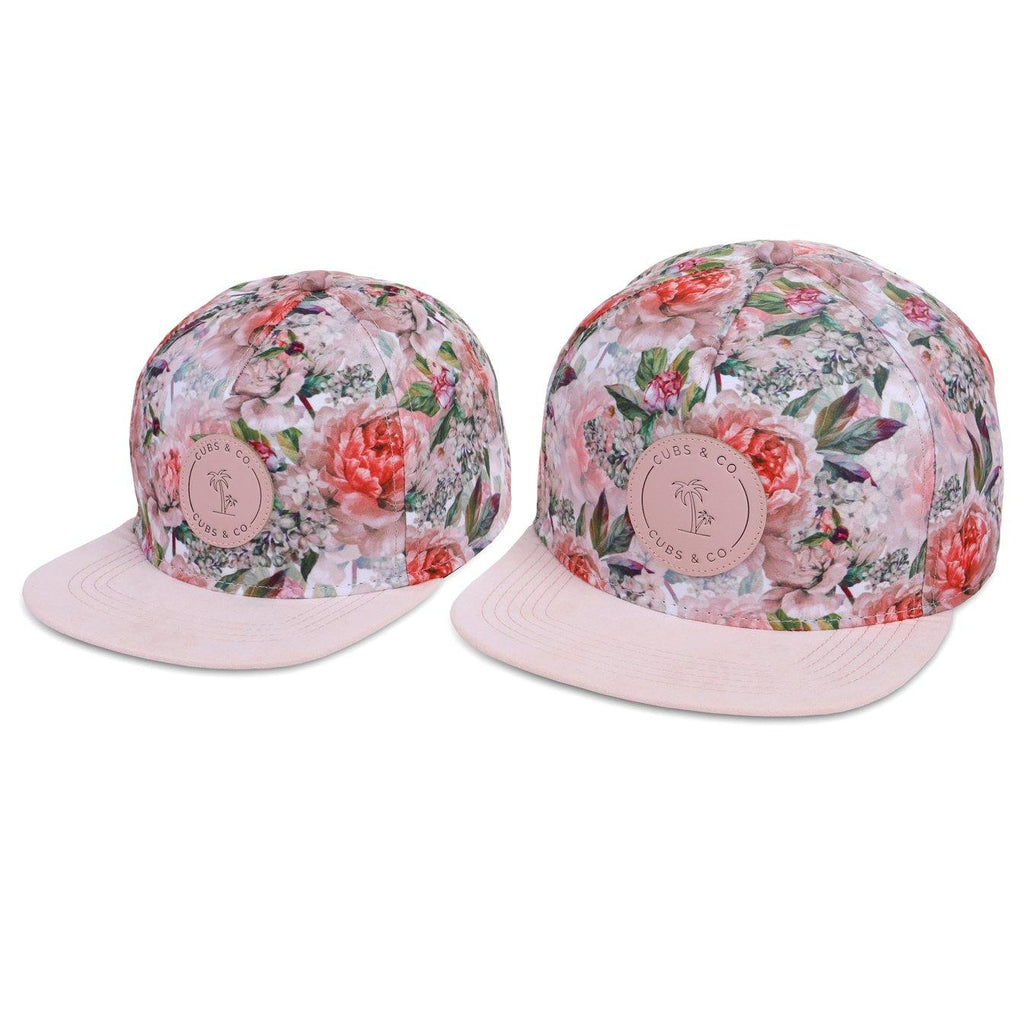 Matching Kids and women's pink floral snapback hat. Cubs & Co. Australia.