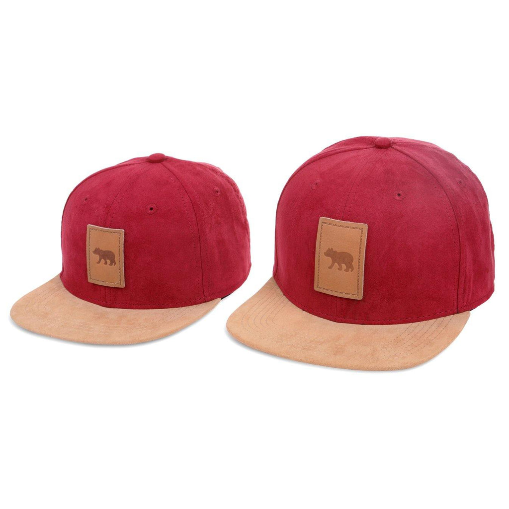 Matching Suede red snapback hat for babies, toddlers, kids and men. Cubs & Co. Australia