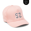 Personalised pink baseball cap with your initials for babies, toddlers, kids, women and men, Cubs & Co. Australia.