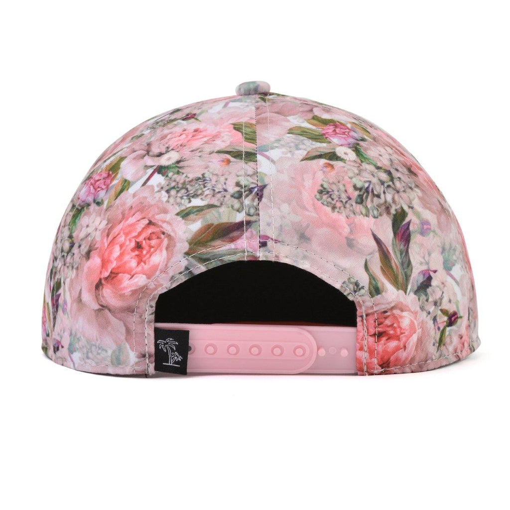 Kids and women's pink floral snapback hat. Cubs & Co. Australia.