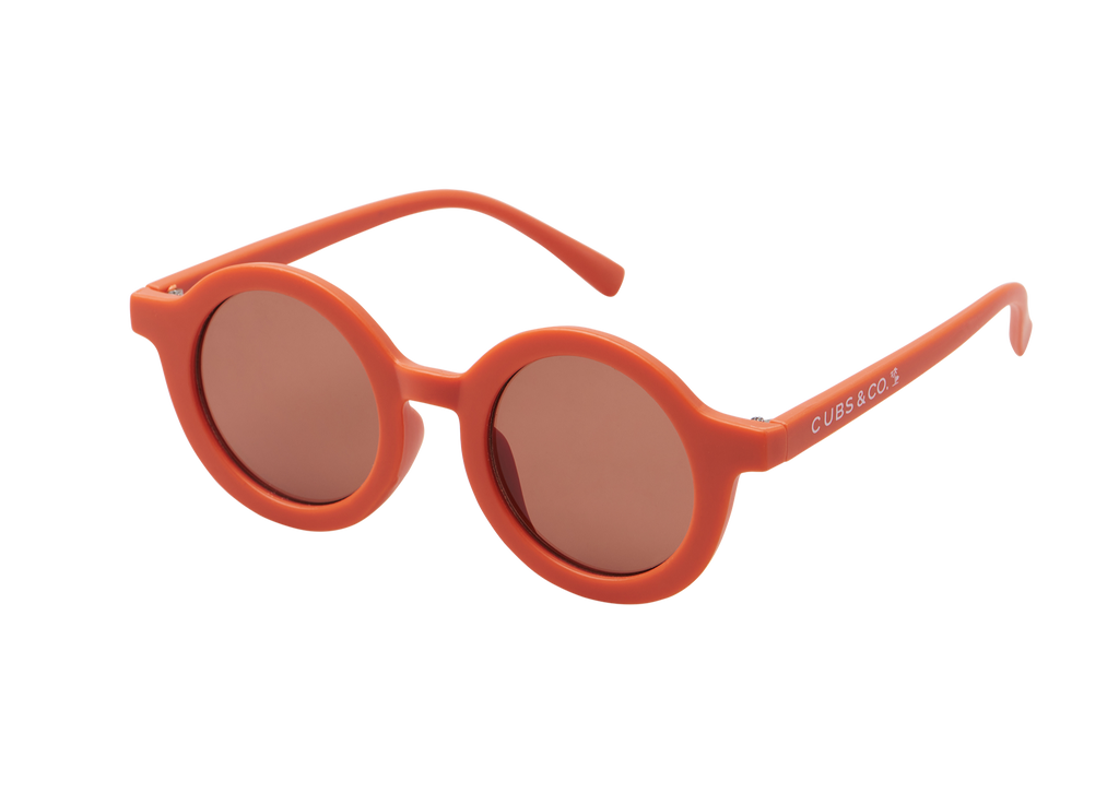 Kids orange terracotta sunglasses with UV400 protection. Cubs & Co. Australia