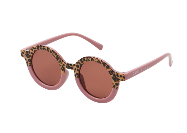Kids pink leopard sunglasses with UV400 protection. Cubs & Co. Australia