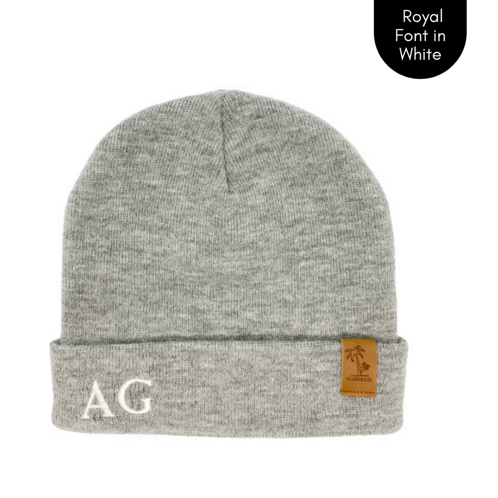 Grey personalised beanie, cubs and co Sydney