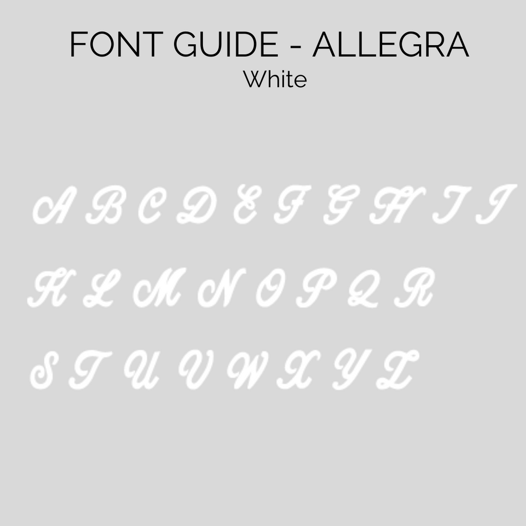Allegra font guide for personalised beanies, cubs and co Sydney