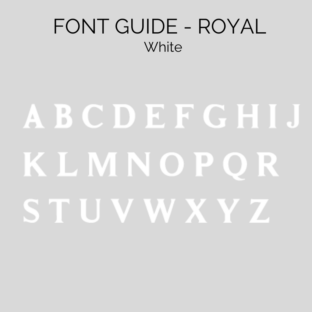 Royal font guide for personalised beanies, cubs and co Sydney