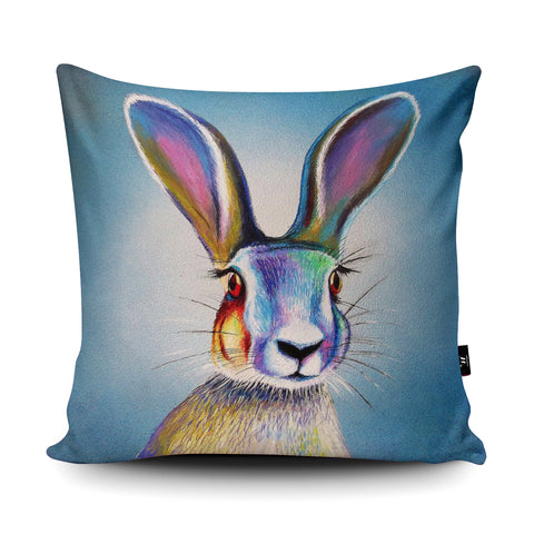 Hare in the Headlights Cushion by Adam Barsby