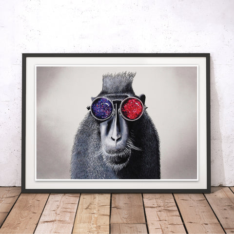 Hipster Monkey Original Print by Adam Barsby
