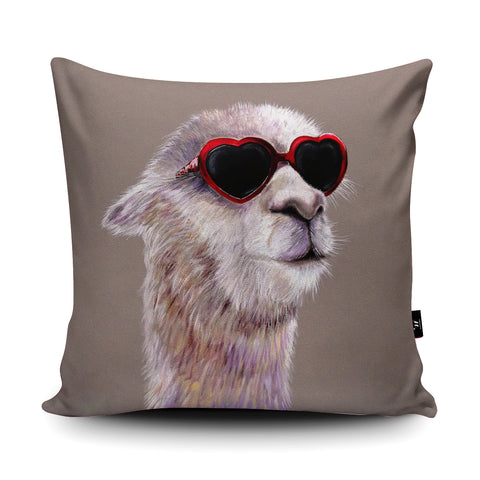 Llama In Love Cushion by Adam Barsby