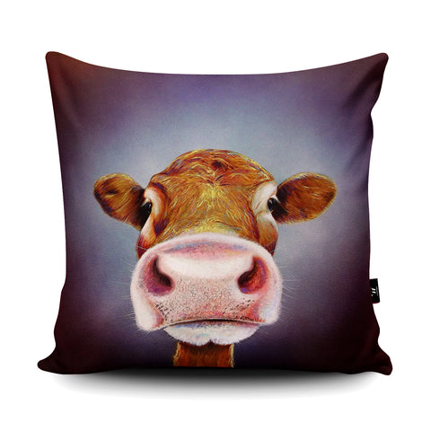 Nosey Cow Cushion by Adam Barsby